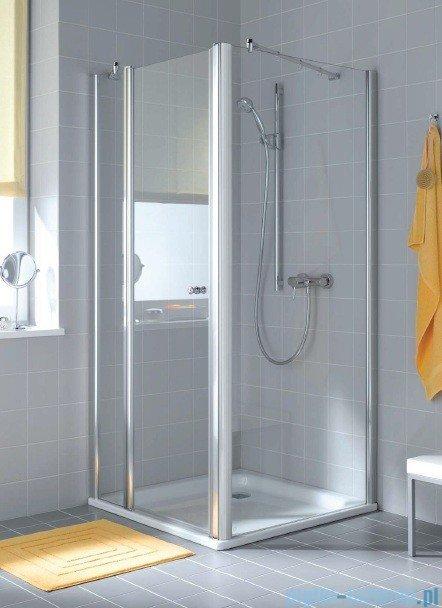 Kermi Atea Drzwi wahadłowe jednoskrzydłowe z polem stałym, prawe, szkło przezroczyste, profile białe 120cm AT1GR120182AK