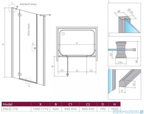 Radaway Torrenta Dwjs drzwi wnękowe 170 lewe szkło przejrzyste 320812-01-01L/320393-01-01
