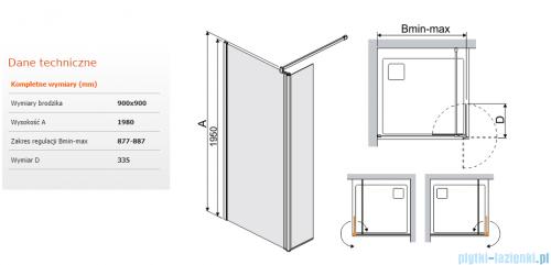Sanplast kabina typu Walk In z elementem ruchomym 90x198 cm przejrzyste  PR2/PRIII-90  600-073-0980-01-401
