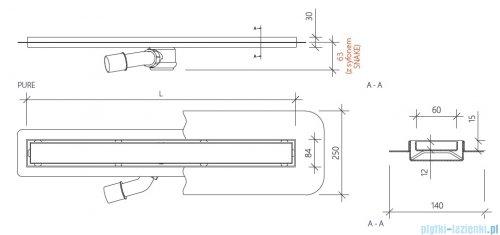 Wiper New Premium Pure Odpływ liniowy z kołnierzem 50 cm mat 100.1973.03.050