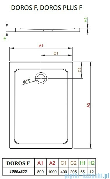 Radaway Doros Plus F Brodzik prostokątny 100x80x5,5cm SDRFP1080-01