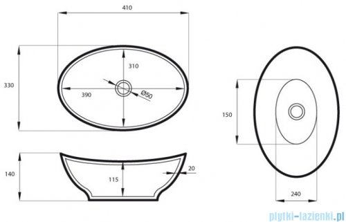 Massi Oval umywalka nablatowa 41x33cm biała MSU-5060B
