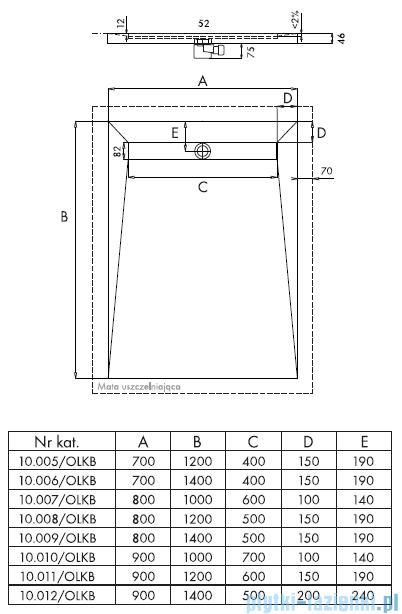 Schedpol Brodzik posadzkowy podpłytkowy z odpływem na krótszym boku 140x70x5/12cm 10.006/OLKB