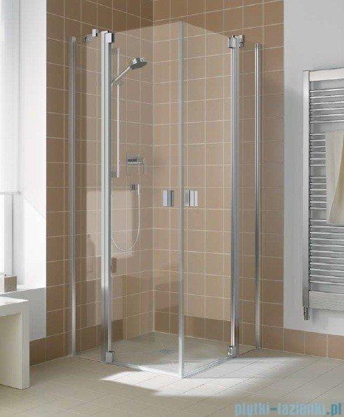 Kermi Raya Wejście narożne, 1 połowa, lewa, szkło przezroczyste z KermiClean, profile srebrne 120x200 RAEPL12020VPK
