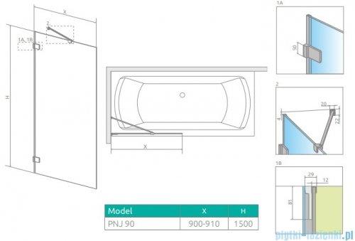 Radaway Euphoria Pnj II parawan nawannowy 90cm L/P szkło przejrzyste 10007090-01-01