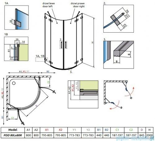 Radaway Euphoria PDD Kabina prysznicowa 80x80 szkło przejrzyste rysunek techniczny