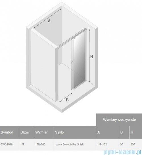 New Trendy Porta drzwi prysznicowe 120x200cm prawe szkło przejrzyste EXK-1048