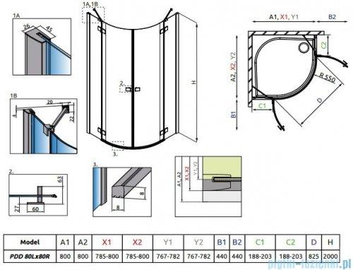 Radaway Essenza New Pdd kabina 80x80cm szkło przejrzyste 385002-01-01L/385002-01-01R