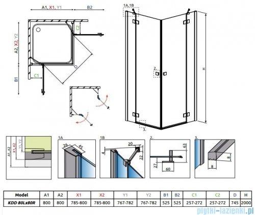 Radaway Essenza New Kdd kabina 80x80cm szkło przejrzyste 385061-01-01L/385061-01-01R