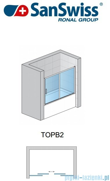 SanSwiss Top-Line TOPB2 Parawan nawannowy 2-częściowy 160cm profil połysk TOPB216005007