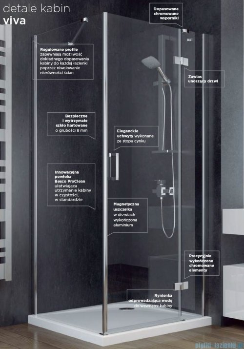 Besco Viva kabina prostokątna lewa z brodzikiem i syfonem 120x80cm przejrzysta VPL-128-195C/BAX-120-80-P