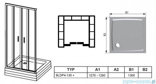 Ravak Blix BLDP4 drzwi prysznicowe 130cm białe transparent Anticalc 0YVJ0100Z1