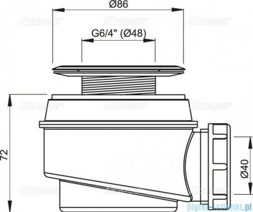 Alcaplast  syfon brodzikowy Ø60 z metalowym sitkiem A46-60