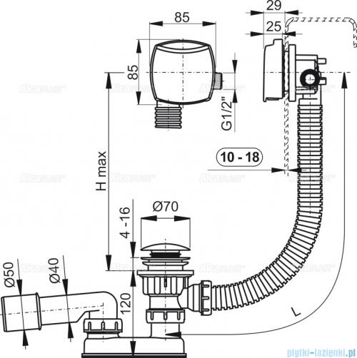 Alcaplast  syfon wannowy klik-klak z funkcją napełniania przez przelew do wanien grubościennych, chrom A509KM