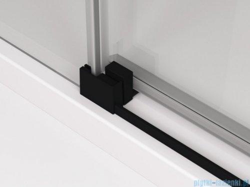 SanSwiss Cadura Black Line drzwi przesuwne 140cm jednoskrzydłowe prawe z polem stałym profile czarny mat CAS2D1400607