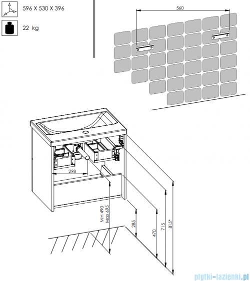 Elita Kwadro Plus szafka podumywalkowa 60x53x40cm biała połysk 166712