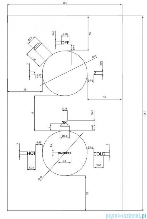 Omnires Y bateria podtynkowa termostatyczna 2-wyjściowa element natynkowy chrom Y1236/KROCR