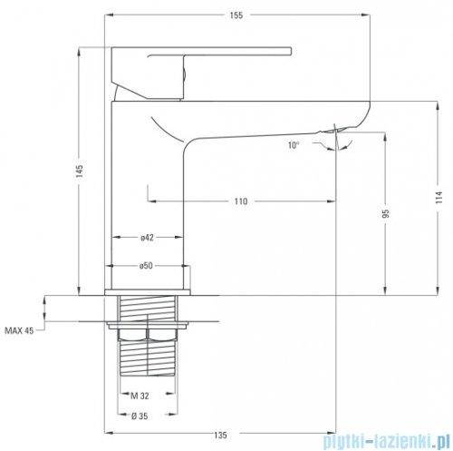 Deante Alpinia bateria umywalkowa stojąca chrom BGA 021M