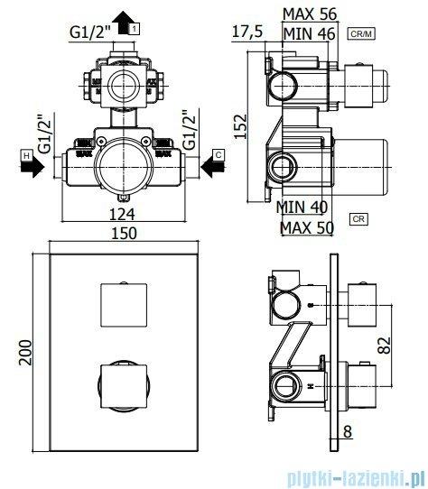 Paffoni bateria podtynkowa termostatyczna 1-drożna chrom LEQ513CR
