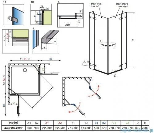 Radaway Euphoria KDD Kabina prysznicowa 80x90 szkło przejrzyste 383061-01L/383060-01R