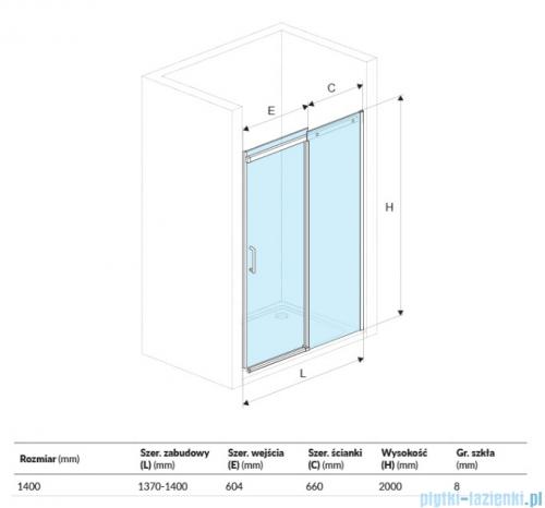 Excellent Rols drzwi wnękowe przesuwne 140 cm przejrzyste