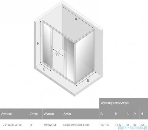 New Trendy New Corrina kabina prostokątna 140x80cm przejrzyste D-0183A/D-0078B