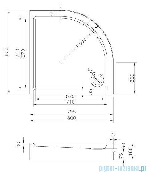 Ravak Ronda Basic kompakt brodzik 80x80cm biały GPX2240131