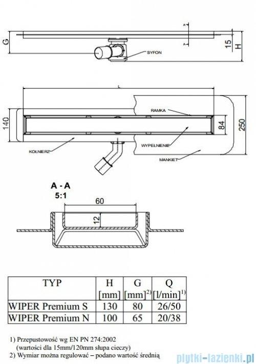 Wiper Odpływ liniowy Premium Ponente 80cm z kołnierzem mat P800MPS100