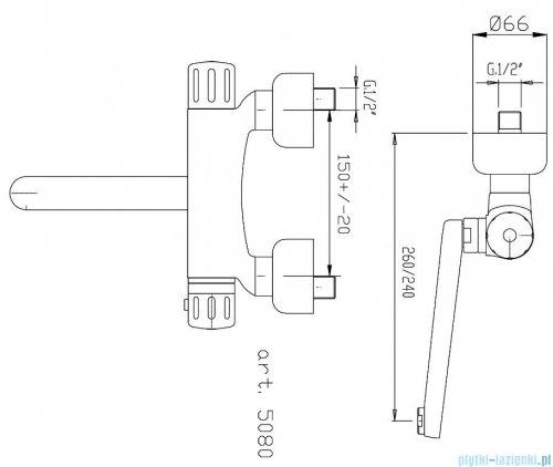Ferro Bateria termostatyczna zlewozmywakowa ścienna TA5
