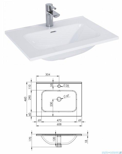 Elita Look szafka z umywalką 60x28x45cm czarny mat 168103/145830