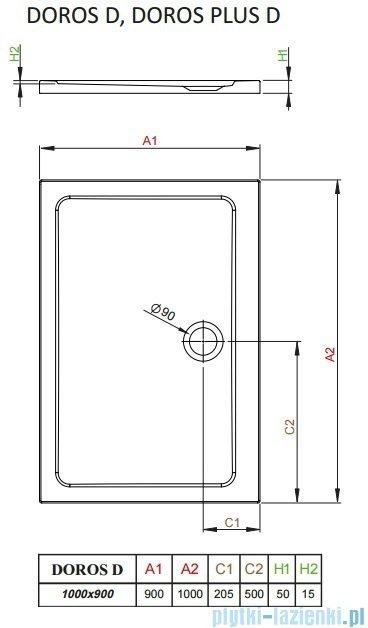 Radaway Arta Kdj I kabina 100x90cm lewa szkło przejrzyste + brodzik Doros D + syfon