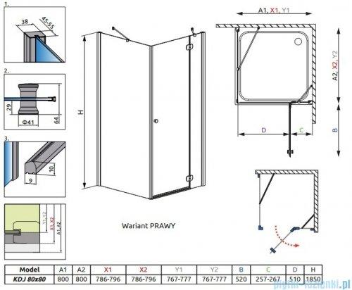 Radaway Torrenta Kdj kabina kwadratowa 80x80 prawa szkło przejrzyste rysunek terchniczny