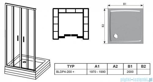 Ravak Blix BLDP4 drzwi prysznicowe 200cm satyna grape Anticalc 0YVK0U00ZG