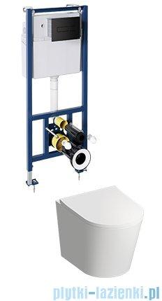 Omnires Tampa podtynkowy zestaw WC z miską + deską wolnoopadającą + przycisk czarny TAMPASETBPBL