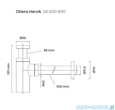 Oltens Hervik syfon umywalkowy mosiężny okrągły złoty 02600800