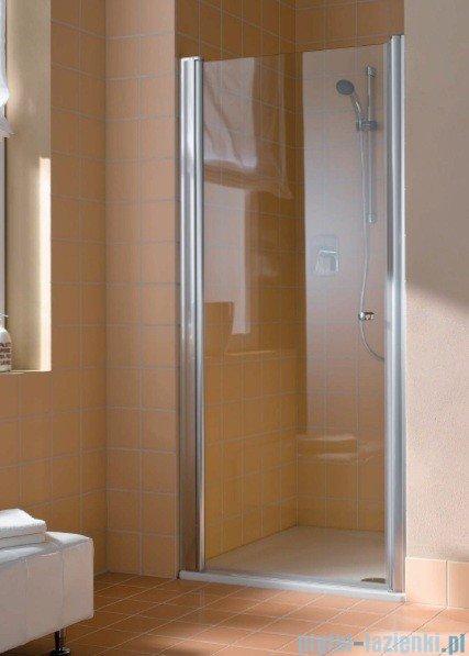 Kermi Atea Drzwi wahadłowe jednoskrzydłowe lewe, szkło przezroczyste, profile białe 90cm AT1WL090182AK