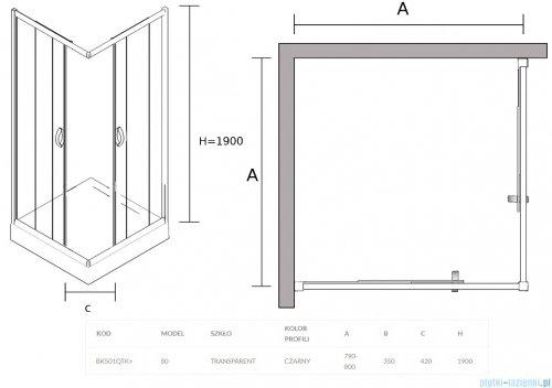Sea Horse Stylio Black kabina natryskowa kwadratowa 80x80x190 cm przejrzysta BK501QTK+