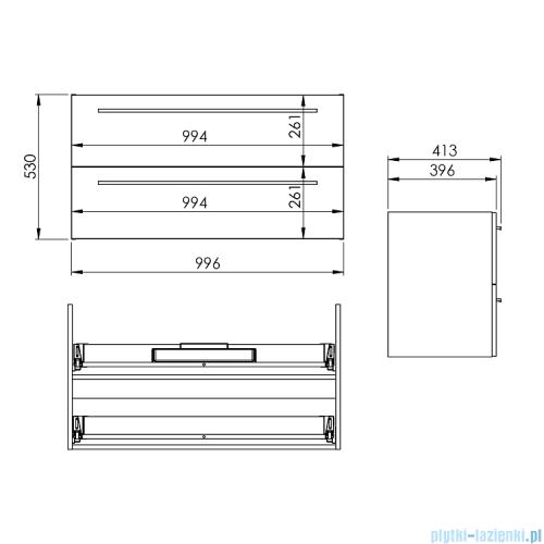 Elita Kwadro Plus szafka podumywalkowa 100x53x40cm biały połysk 166714