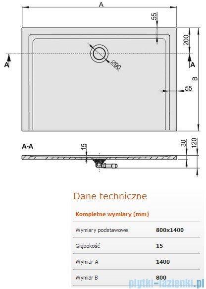 Sanplast Space Mineral brodzik prostokątny z powłoką 140x80x1,5cm+syfon 645-290-0370-01-002