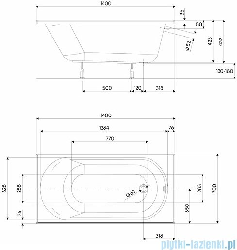 Koło Opal Plus Wanna prostokątna 140x70cm XWP1240