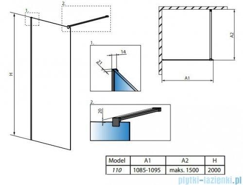 Radaway Modo X II kabina Walk-in 110x200 szkło przejrzyste 10mm 389314-01-01