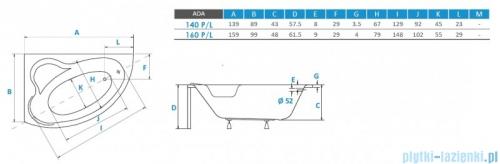 Piramida Ada 140x90cm Wanna asymetryczna Lewa