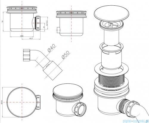 Omnires Syfon do brodzików z otworem ø 90 mm chrom ST7990.01+ST45CR