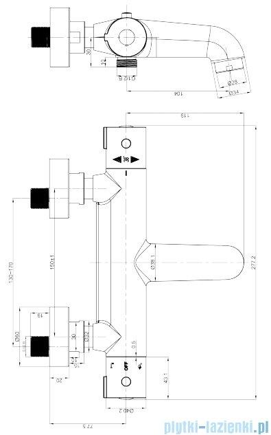 Omnires Y bateria wannowa termostatyczna chrom Y1236/NCR