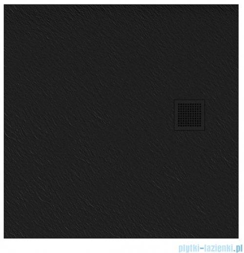 New Trendy Mori brodzik kwadratowy z konglomeratu 90x90x3 cm czarny