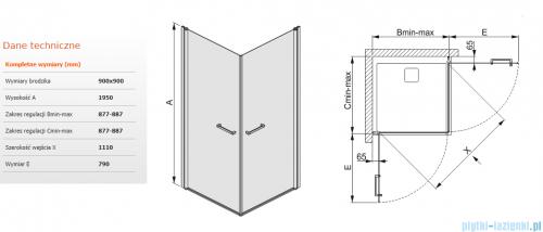Sanplast kabina narożna kwadratowa  KN2/PRIII-90 90x90 przejrzyste 600-073-0430-01-401