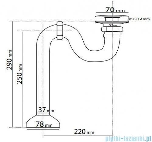 Besco odpływ wannowy z korkiem klik-klak chrom S2