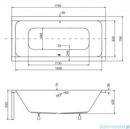Besco Quadro 175x80cm wanna prostokątna + obudowa + syfon #WAQ-175-PK/#OAQ-175-PK/19975