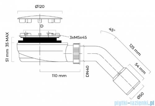 Oltens Pite Turbo Slim syfon brodzikowy odpływ 90 mm niski 08002000