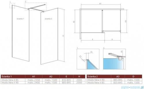 Radaway Modo New Black III kabina Walk-in 85x90x200 szkło przejrzyste 389085-54-01/389094-54-01/389000-54